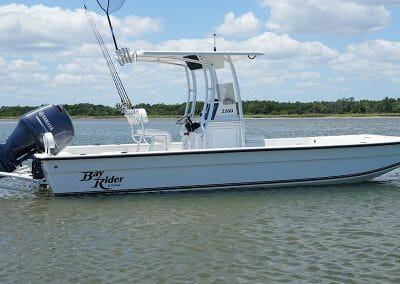 white FlatBottom2260 on the water