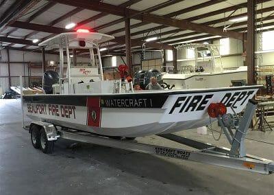 custom beaufort fire department bayrider skiff boat