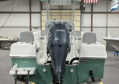 back view of motor and rear of challenger boat