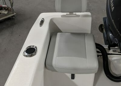 seat and cup holder on a boat
